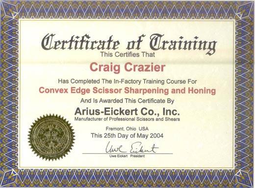 Training Certificate  Precision Sharpening Inc